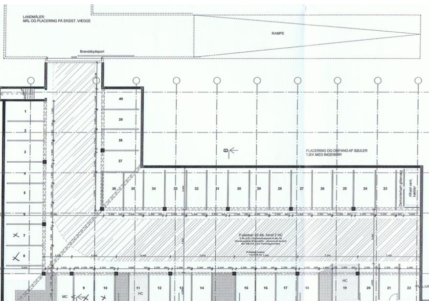 Tegning over 40 nummererede Parkeringspladser